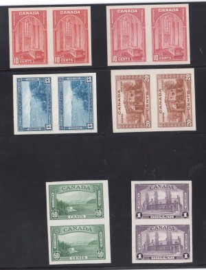 Canada #241b - #245b XF/NH Imperf Pair Set Including #241c