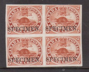 Canada #15TCiv VF Plate Proof Block On India Paper