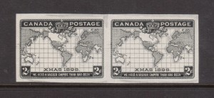 Canada #86v XF Mint Imperf Pair In Black