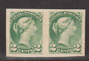 Canada #36P XF Proof Pair On Card