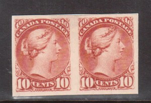 Canada #45P XF Proof Pair On Card