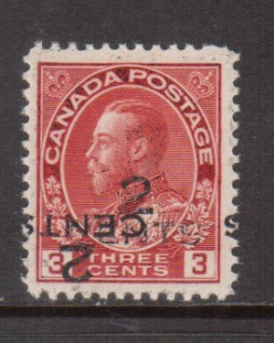 Canada #140c VF/NH Double Surcharge **With Cert.**