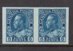 Canada #115a XF Mint Imperforate Pair