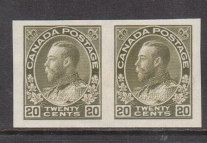 Canada #119a XF Mint Imperforate Pair