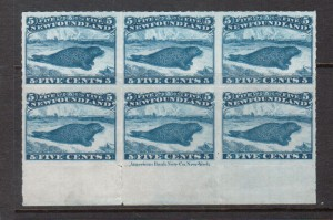 Newfoundland #40 XF Mint Plate Block Of Six **With Certificate**