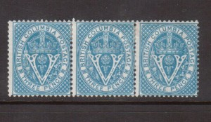 British Columbia #7i Mint Inverted Watermark Strip Of Three *With Cert.*