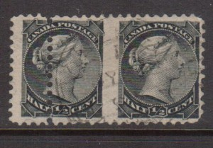 Canada #34b VF Used Imperf Pair **With Certificate**
