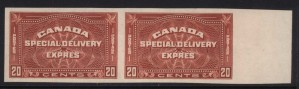 Canada #E5a XF/NH Imperforate Pair