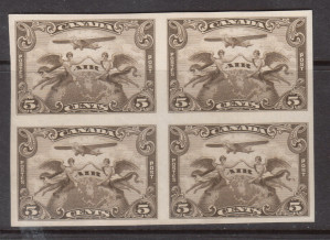 Canada #C1a XF/NH Imperf Block **With Certificate**