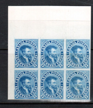 Canada #19P XF Upper Left Margin Proof Block Of Six India Paper On Card