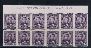 Canada #146b XF/NH Plate #2 Block Of 12 Imperf Variety **With Cert.**