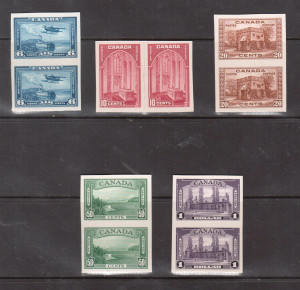 Canada #241P - #245P & #C6P XF Set Of Imperforate Plate Proof Pairs