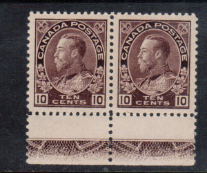 Canada #116 XF/NH Lathework C Pair **With Certificate**