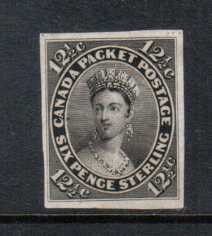 Canada #18TCix VF Plate Proof In Black On India Paper