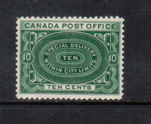 Canada #E1 VF/NH **With Certificate**