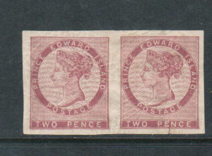 Prince Edward Island #1 XF Mint Imperforate Pair Variety **With Certificate**