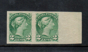Canada #36a XF Mint Imperf Pair **With Certificate**