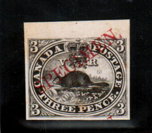 Canada #1TCiv XF Plate Proof In Black With Diagonal Specimen In Carmine
