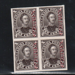 Canada #16Pi XF Proof Block India Paper On Card