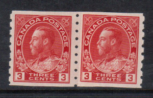 Canada #130iii XF/NH Paste Up Pair **With Certificate**