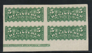 Canada #F2c XF Mint Imprint Imperforate Block