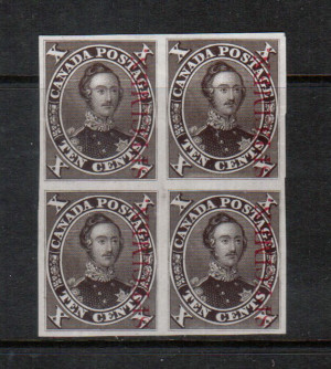 Canada #16Pi XF Proof Block In Black Brown On India Paper
