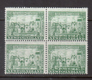 Newfoundland #213b NH Mint Double Impression Block **With Certificate**