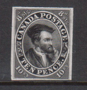 Canada #7TC VF Plate Proof In Black On India Paper