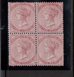 British Columbia #5 Mint Block **With Certificate**