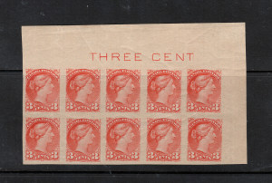 Canada #41ii XF/NH Plate Imprint Block Of Ten
