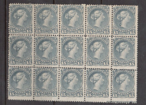 Canada #30viii NH Mint Block Of 15 **With Certificate**