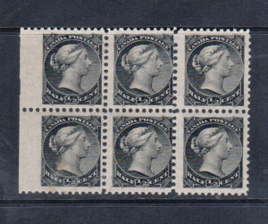 Canada #34 NH Mint Variety Block Of Six **With Certificate**
