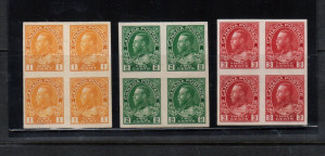 Canada #136 - #138 XF/NH Imperf Block Set