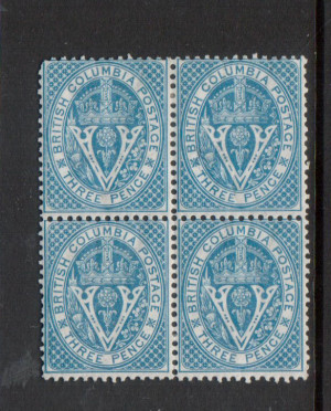 British Columbia #7i VF Mint Block **With Certificate**