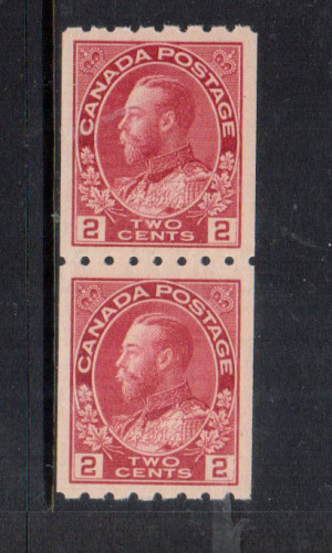 Canada #124 XF/NH Gem Coil Pair **With Certificate**