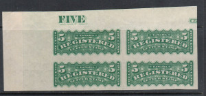 Canada #F2c XF Mint Imperforate Block **With Certificate**