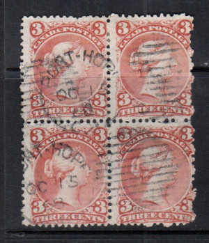 Canada #33 Used Block Only One Known On Laid Paper **With Certificate**