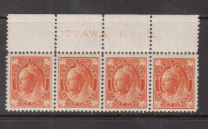 Canada #72 XF/NH Plate #1 Imprint Strip Of Four **With Certificate**
