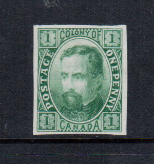 Canada M & P #E-Aa XF Colony Of Canada Plate Essay In Blue Green On India Paper