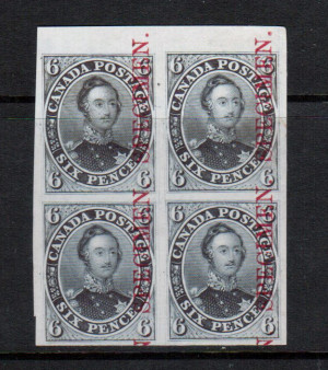 Canada #2TCvii XF Proof Block On India Paper Dark Grey With Specimen Overprint In Carmine