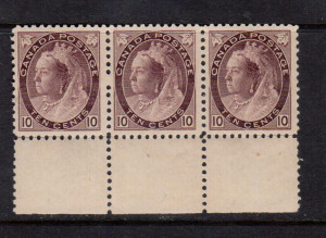 Canada #83 VF/NH Bottom Margin Strip Of Three **With Certificate**
