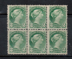 Canada #36e Mint Scarce Block Of Six **With Certificate**