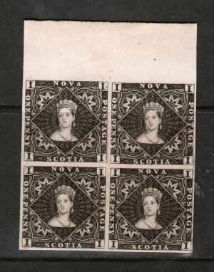 Nova Scotia #1P VF Plate Proof Block In Black On Thin Card *With Cert.*
