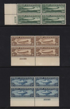 USA #C13 - #C15 XF/NH Plate # Blocks Of Four