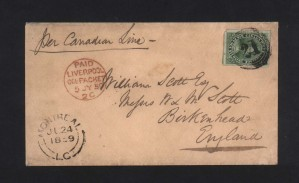 Canada #9 VF Used On Lovely Cover To UK