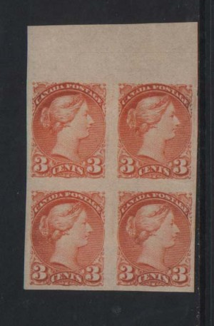 Canada #41b XF Mint Imperforate Block **With Cert.**