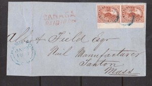 Canada #4a VF Used Sheet Margin Pair On Cover **With Certificate**