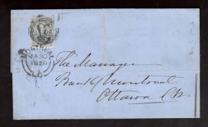Canada #5 XF Used On Cover To Ottawa **With Cert.**