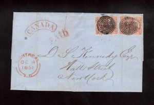 Canada #1 (Two Copies) On Cover To NY **With Certificate**