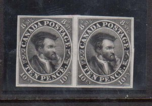 Canada #7TC VF Proof Pair In Black On India Paper